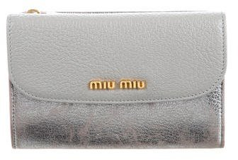 Miu MiuMiu Miu Metallic Compact Wallet