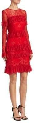 ML Monique Lhuillier Lace Tiered Cocktail Dress