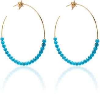 Diane Kordas Star Motif Hoop Turquoise Bead Earrings