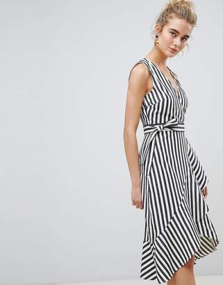 Warehouse Thick Stripe Wrap Ruffle Dress