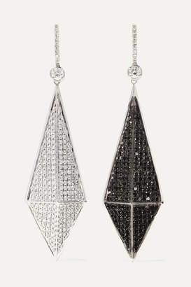 Ofira - Pyramid Reversible 18-karat Blackened White Gold Diamond Earrings