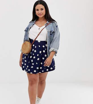 955e97e41 Asos DESIGN Curve mini skirt with box pleats in navy daisy print