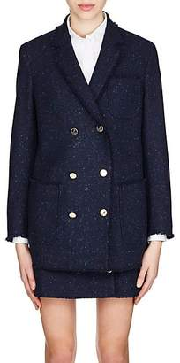 Thom Browne Women's Frayed Wool Tweed Jacket - Navy