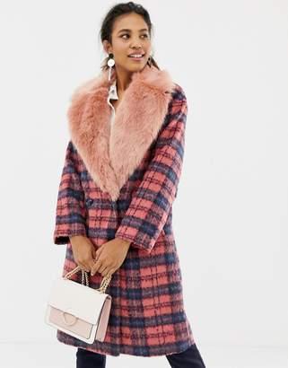 Asos Design DESIGN faux fur collar check coat