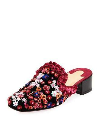 Christian Louboutin Dona Viera Embroidered Suede Red Sole Mule