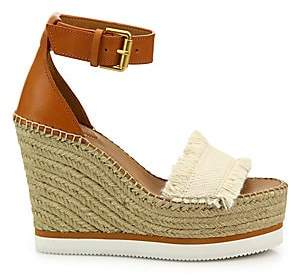 See by Chloe Women's Glyn Leather& Frayed Canvas Espadrille Wedge Platform Sandals