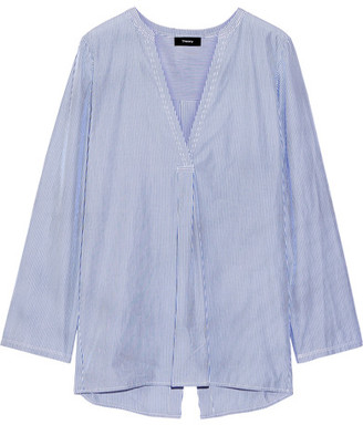 Theory - Ofeliah Pinstriped Cotton-poplin Shirt - Blue $265 thestylecure.com