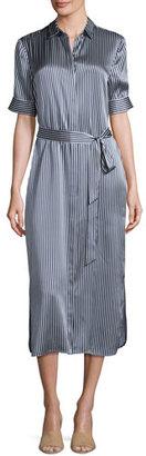 ATM Anthony Thomas Melillo Striped Silk Charmeuse Midi Shirtdress, Navy $495 thestylecure.com