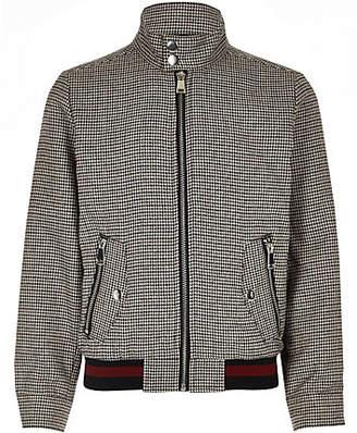 River Island Boys brown check Harrington jacket