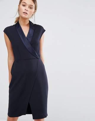 Closet London Closet Tuxedo Midi Dress with Wrap Front $83 thestylecure.com