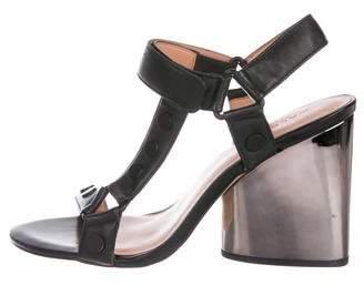 Halston Leather Ankle-Strap Sandals