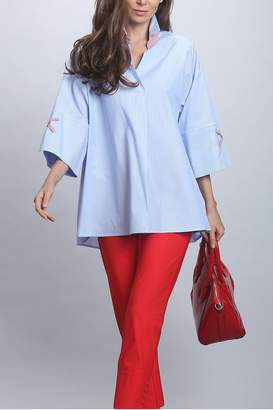 IC Collection Blue Pinstripe Blouse