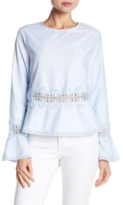 AFTER MARKET Eyelet Lace Detailed Bell Sleeve Blouse