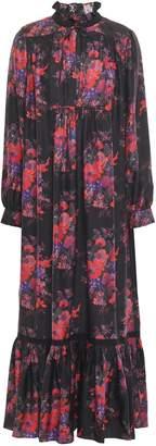 McQ Macrame-trimmed Silk-jacquard Maxi Dress