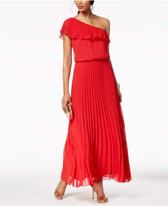 Xscape Evenings Pleated Chiffon One-Shoulder Gown