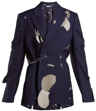 Charles Jeffrey Loverboy - Hole Cut Out Safety Pin Wool Blazer - Womens - Navy