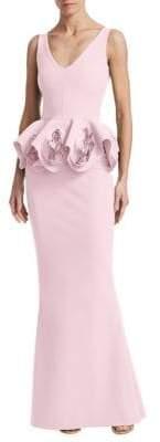 Chiara Boni Rose Peplum Gown