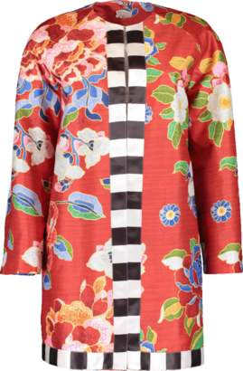Stella Jean Collarless Floral Print Coat