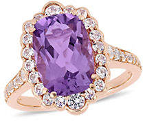 HBC CONCERTO Silver Gemstone Amethyst and White Topaz Halo Cocktail Ring