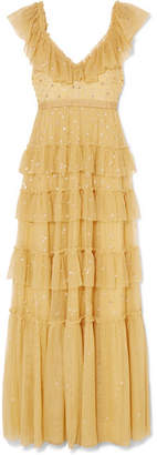 Needle & Thread Sunburst Tiered Embellished Tulle Gown - Yellow