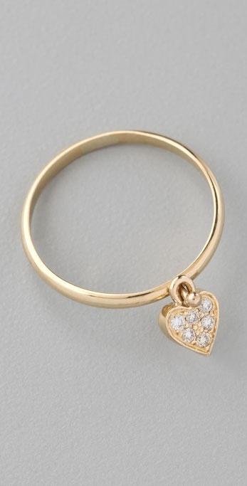 Jennifer Meyer Jewelry Diamond Heart Drop Ring