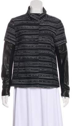 Veronica Beard Leather-Paneled Bouclé Jacket