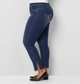 Avenue Plus Size Wanna Betta Butt Slit Stripe Inset Ankle Jean