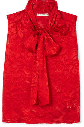 Alice + Olivia Arie Pussy-bow Fil Coupé Chiffon Top - Red