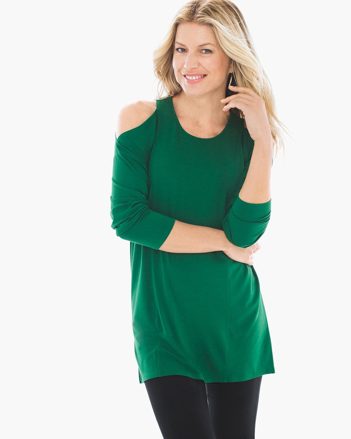 Tandy Solid Cold-Shoulder Tunic