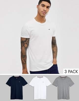 Hollister 3 pack crew neck t-shirt seagull logo slim fit in white/gray/navy