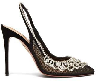 Aquazzura Maharani Crystal Embellished Mesh Slingback Pumps - Womens - Black
