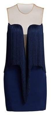 Stella McCartney Gisele Stretch Cady Sleeveless Fringe Dress