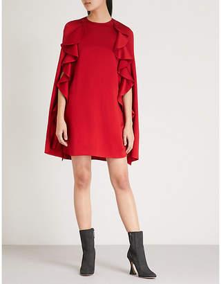 Valentino Ruffled satin-crepe cape dress