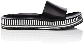 Barneys New York Women's Striped-Platform Leather Slide Sandals $225 thestylecure.com