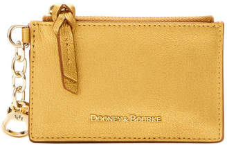 Dooney & Bourke Metallic Leather Zip Top Card Case