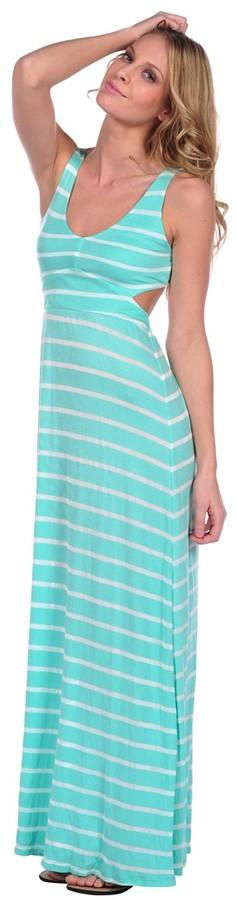 Vintage Havana Stripe Open Back Maxi Dress