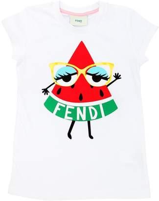 Fendi Watermelon Print Cotton Jersey T-Shirt