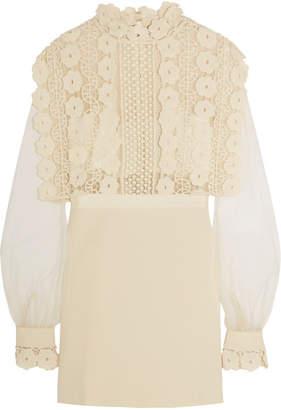 Self-Portrait Guipure Lace, Crepe And Tulle Mini Dress - Cream