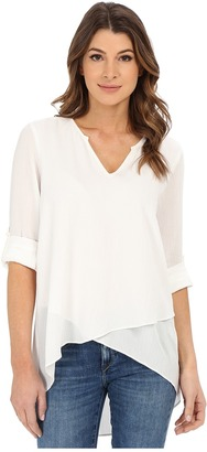 Karen Kane - Split Neck Asymmetrical Hem Top Women's Clothing $79 thestylecure.com