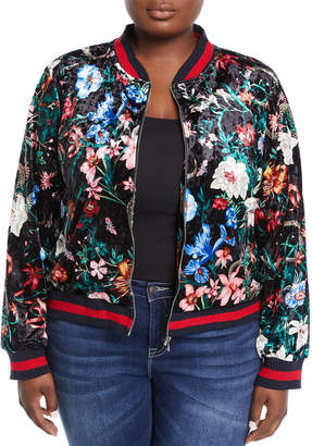 Stellah Plus Asian Flower-Print Velour Jacket, Plus Size