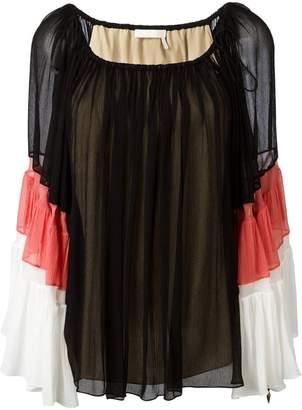 Chloé tiered colour block blouse