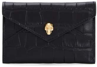 Alexander McQueen Crocodile-effect Envelope Leather Card Holder