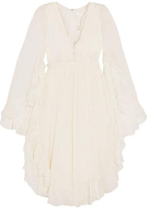Chloé - Ruffled Crocheted Lace-paneled Silk-crepon Mini Dress - White