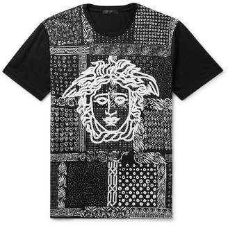 Versace Slim-fit Printed Cotton-jersey T-shirt - Black