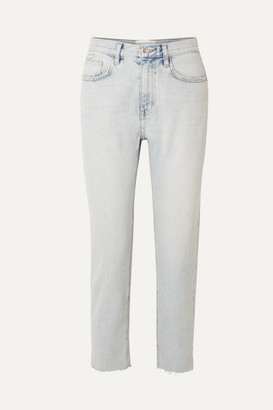 Current/Elliott The Vintage Cropped High-rise Straight-leg Jeans - Light denim