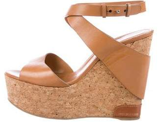 Sergio Rossi Leather Platform Wedge Sandals