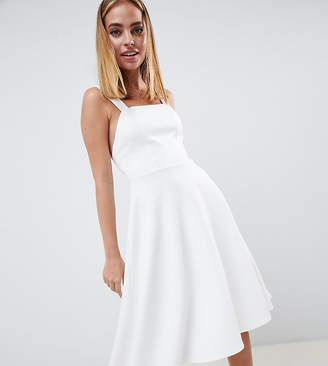 Asos DESIGN Petite square neck prom midi dress