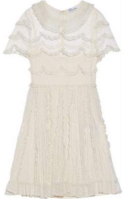 RED Valentino Embroidered Organza-Trimmed Point D'esprit Mini Dress