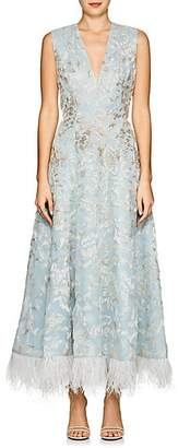 J. Mendel Women's Feather-Trimmed Beaded Silk Cocktail Dress - Aqua