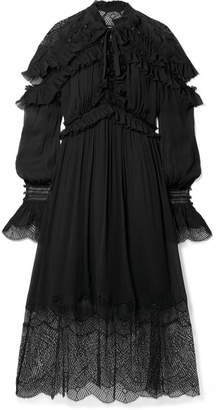 Jonathan Simkhai Ruffled Lace-paneled Silk-crepon Midi Dress - Black